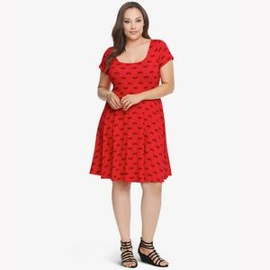 Torrid Red Bicycle Keyhole Fit &Flare Skater Dress